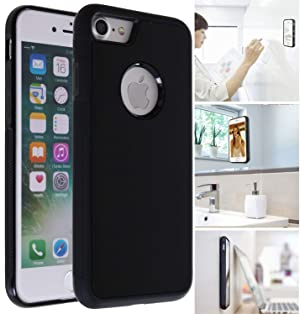[ Monca ] Anti Gravity Cellphone Case [Black] Magical Nano Technology Stick to Wall, Glass, Whiteboards, Tile, Smooth Flat Surfaces (Goat Case for iPhone 8 Plus)
