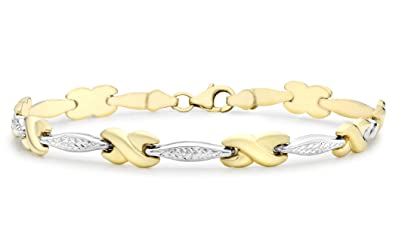 Carissima Gold 9 ct 2 Colour Gold Kiss Detail Bangle exvTi62