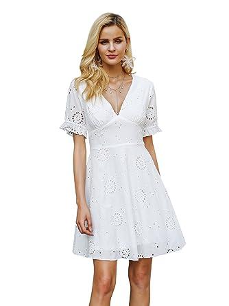 2d4a0ebbb76a Missy Chilli Damen A-Linie Kleid Gr. 36 Medium, weiß  Amazon.de ...