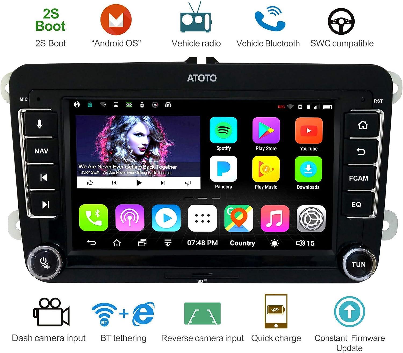 Navegación GPS para automóviles Android ATOTO A6 con Bluetooth Dual y Carga rápida - para Algunos Volkswagen/VW - Premium A6YVW710PB Radio Multimedia Indash 1G/16G, WiFi/BT Internet Tethering