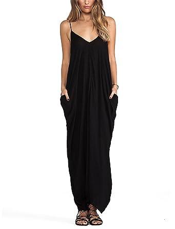 May Maya Women s Black V Neckline All In One Maxi Dress at Amazon ... 2cb824d5c
