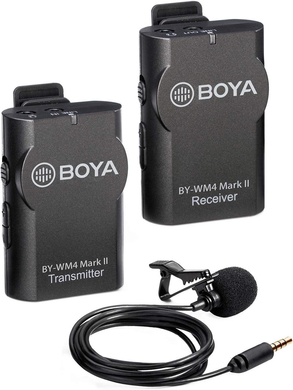 BOYA 2.4GHz Wireless Lavalier Lapel Mic iPhone Smartphone Videoc/ámara Enchufe de 3.5mm para Canon Nikon Sony DSLR Camera Sistema de micr/ófono omnidireccional Grabaci/ón de Audio con Easy Clip On