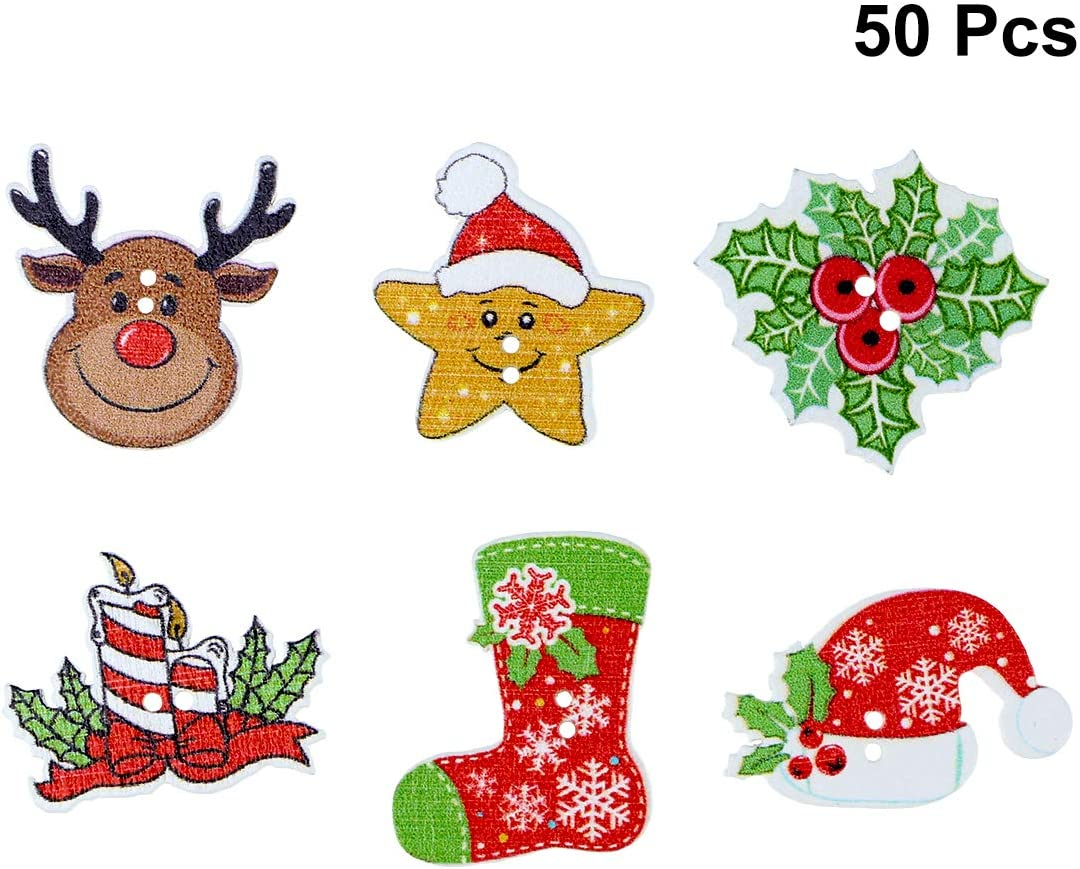 HOUSWEETY 50PCs Christmas Snowman Shaped 2-Hole Wooden Buttons fit Sewing Scrapbook DIY Crafts