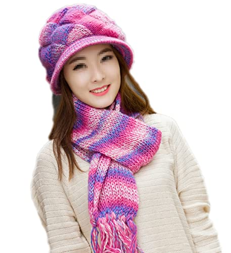 Mujer Winter Knit Hood Scarf Dos Piezas Thickening Warming Outdoor Leisure Esquí De Senderismo,3-One...