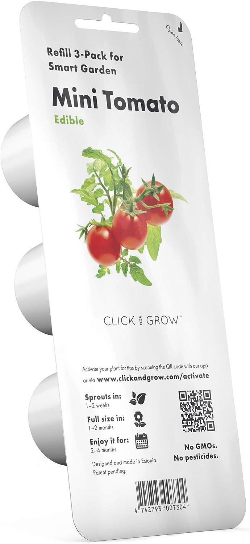 Emsa 3 Cápsulas Tomate Click & Grow, Semillas apta para Smart Garden, huerto urbano, tierra inteligente, jardín hidropónico, resultados en 40 días, Sistema automático iluminación LED