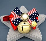 PetFavorites American Flag Dog Cat Collar Bow Tie - Patriotic Bowtie Leather Kitten Necklace with Bell - Chihuahua Yorkie Teacup Dogs Puppy Clothes Costume Outfits Accessories