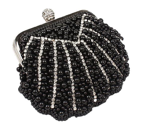 Mujeres Embragues los bolsos de tarde del banquete de boda del bolso Monederos con Rhinestone de la perla Negro: Amazon.es: Equipaje