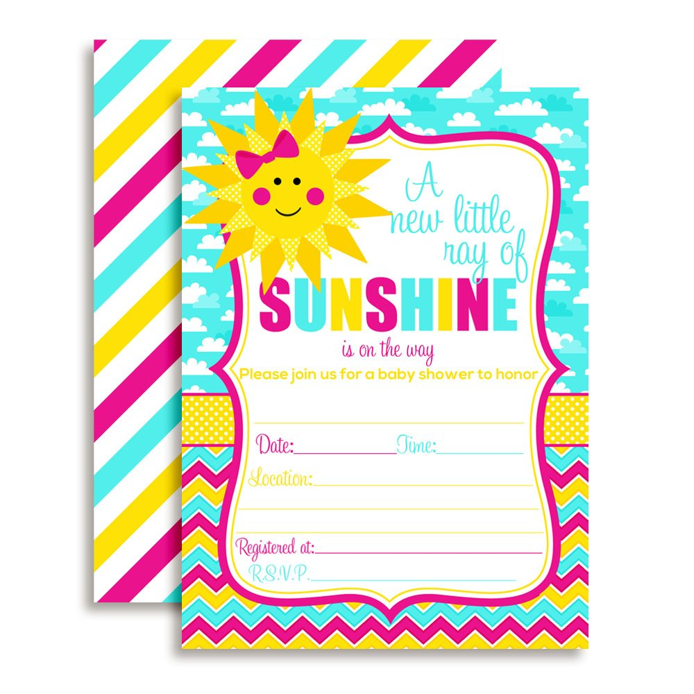 Amanda Creation Ray of Sunshine Girl Baby Shower Fill in Invitations Set of 20 Including envelopes