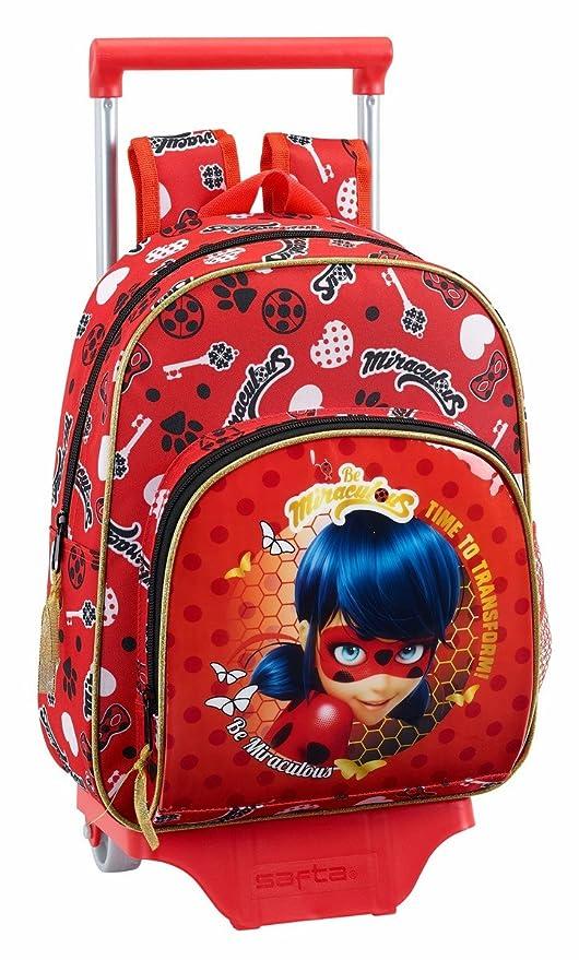 "Safta Mochila Infantil Ladybug ""Sparkle"" Oficial Con Carro Safta 125x95mm"