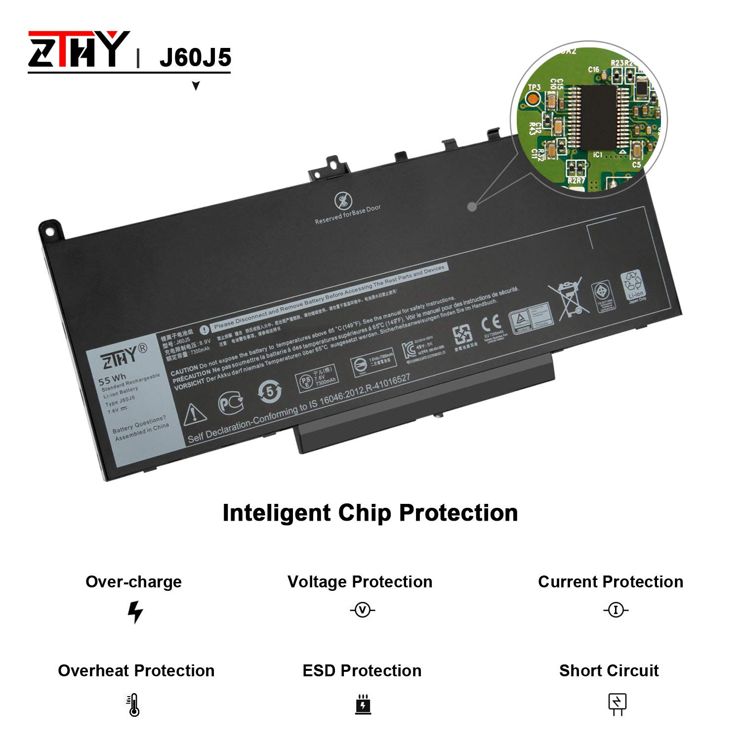ZTHY J60J5 Laptop Battery Replacement for Dell Latitude E7270 E7470 Series Notebook R1V85 451-BBSX 451-BBSY 451-BBSU MC34Y 242WD PDNM2 7.6V 55WH by ZTHY (Image #4)