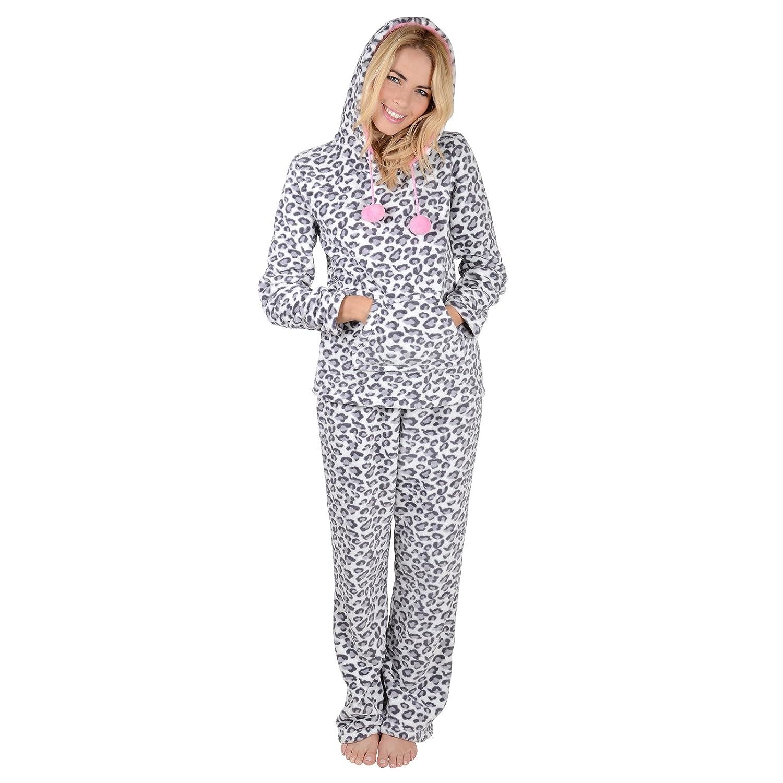 0a456b6732 Ladies Leopard Animal Print Hooded Fleece Pyjama Set PJs Top   Bottoms  Nightwear  Amazon.co.uk  Clothing