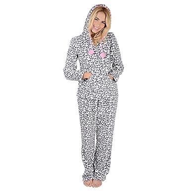 02b5e6ac3c Ladies Leopard Animal Print Hooded Fleece Pyjama Set PJs Top   Bottoms -  X-Small