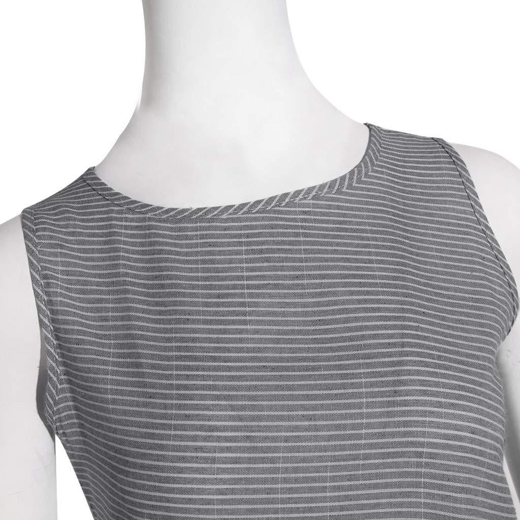 Women Striped Sleeveless Dress Casual Crew Neck Linen Pocket Mid-Calf Dresses Summer Clothes