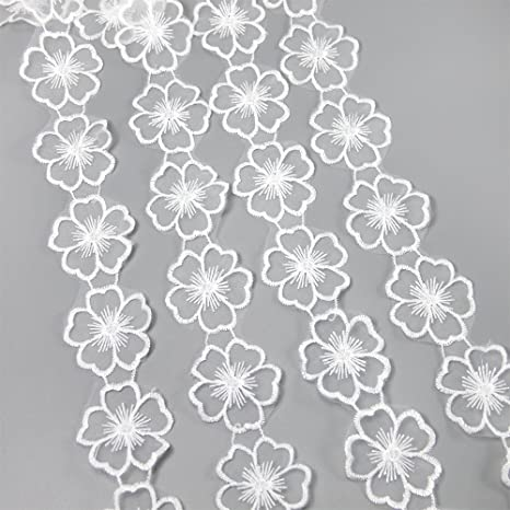 price for 1 yard White small flower lace trim with amazing design