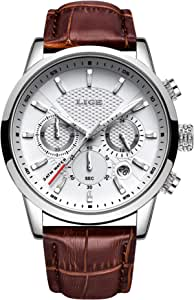 LIGE Reloj Hombre CronóGrafo Impermeable Cuarzo AnalóGico Acero Inoxidable Cuero Brazalete Diseño Calendario Reloj