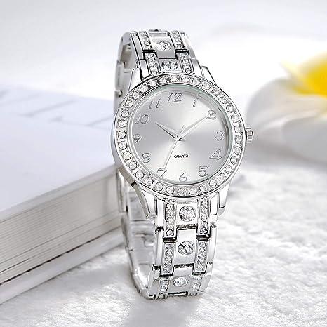 da452d17de9f Reloj de mujer con brazalete de acero inoxidable chapado en cristal   Amazon.es  Relojes