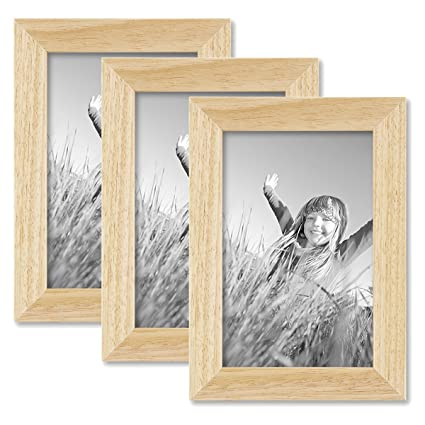 Photolini Juego de 3 marcos 10x15 cm pino natural, modernos, madera ...