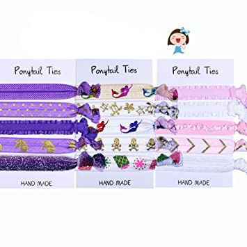 Amazon.com   Jelemoon Colorful Pattern Handmade Kids Girls Women Hair Bands  Elastic Hair Ties Hair Rope Decorative Ponytail Holder Organizer Hair ... 3e2a9fbaeaa