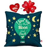 indibni Valentine I Love U Cushion Cover 12x12 with Filler - Dark Blue Gift for Boyfriend Girlfriend Him Her on Anniversary