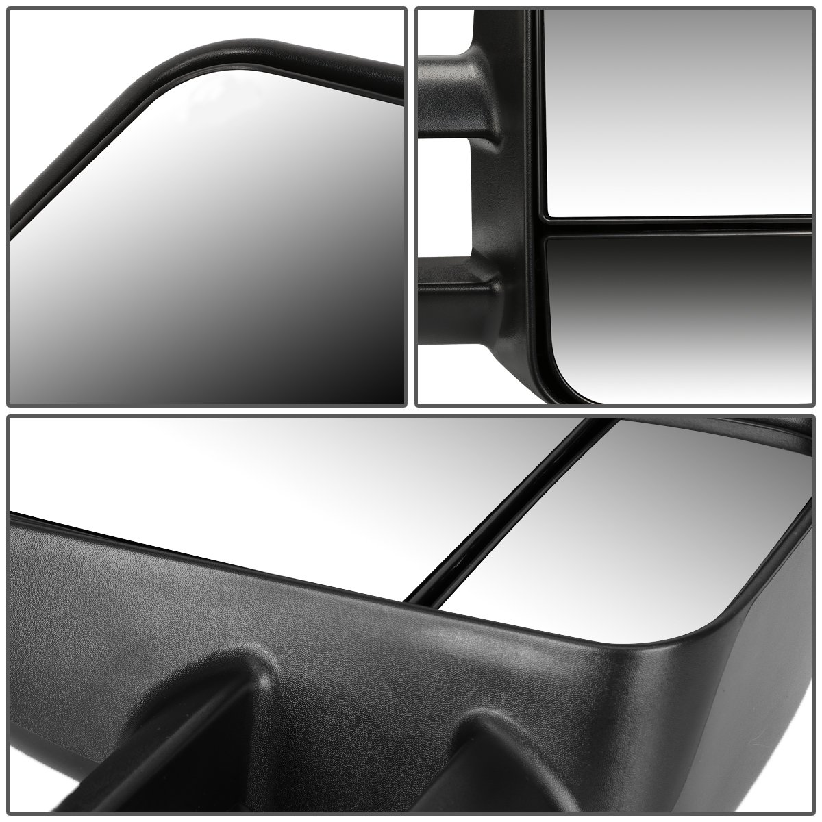 For Ford F150 F250 Pair of Black Textured Telescoping Manual Extenable Side Towing Mirrors