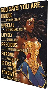 African American Wall Art Inspirational quotes Canvas Black Wonder Woman Painting Giclee Matte Prints Home Decor For Bedroom Living Room Bathroom 12x18 Inch