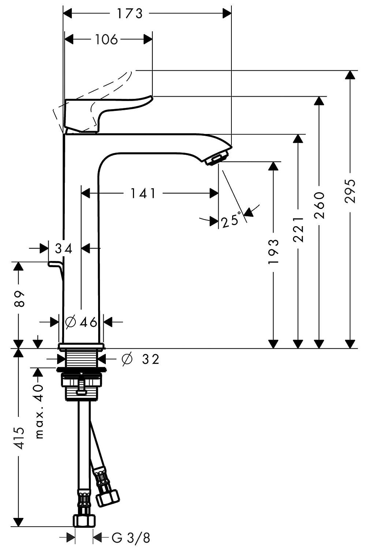 Hansgrohe Waschtischmischer 200 Metris Highriser ohne Ablaufgarnitur chrom 31185000