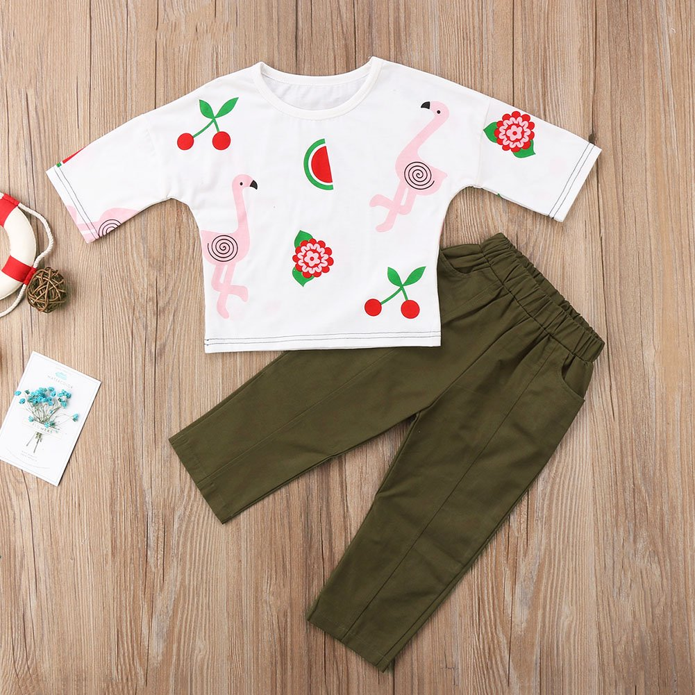 Calsunbaby 2Pcs Infant Baby Girl Swan Print Short Sleeve Blouse Tops+LongLegging Solid Pants Outfits Sunsuit