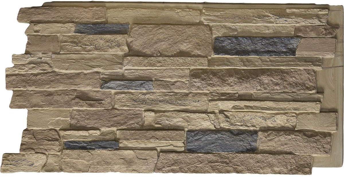"Ekena Millwork PNU24X48ALCO Acadia Ledge Stacked StoneWall Faux Stone Siding Panel, 49""W x 25 1/2""H x 1 1/4""D, Colfax"