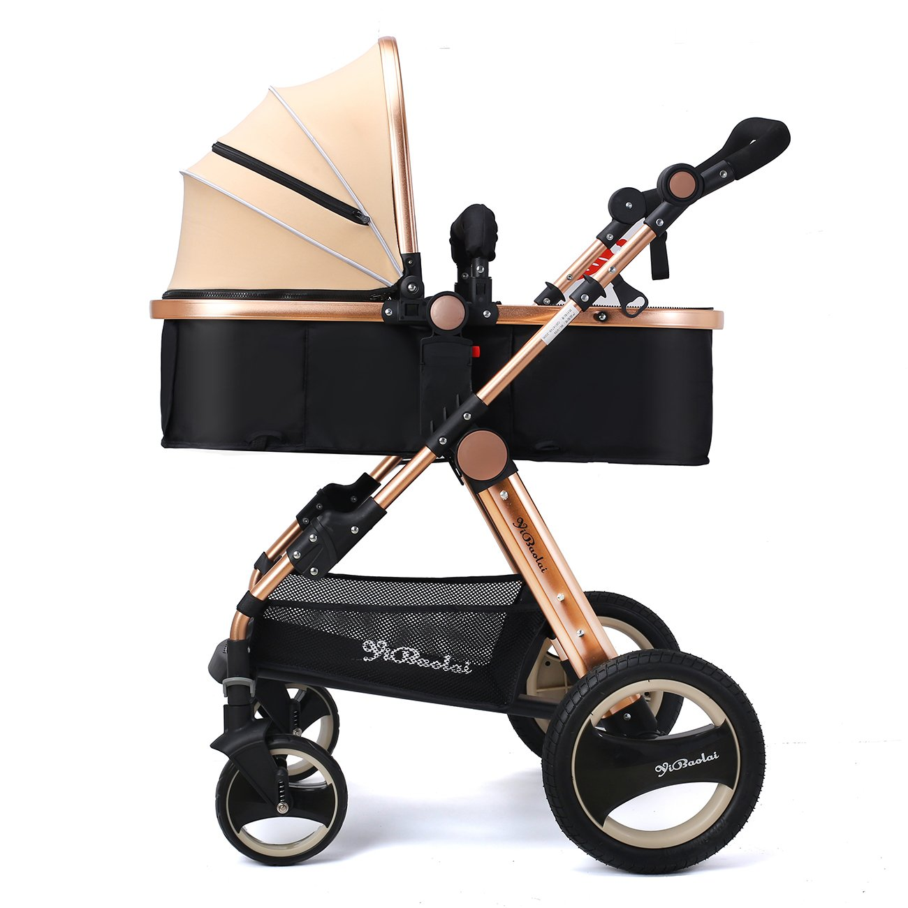 YBL Luxury Urban Toddler Umbrella Baby Stroller Lightweight Newborn Baby Carriage Two-Way Four Rounds Folding with Basket Cup Holder
