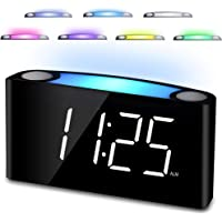 Alarm Clock for Bedrooms - 7 Colored Night Light, 2 USB Chargers, Large Digital LED Display & Full Dimmer, 12/24 Hour & DST, Loud Alarm, Big Snooze, Easy to Set, Adjustable Ringer for Kids Teens Boys Girls Elderly Seniors Heavy Sleepers, AC Power & Battery Backup for Home Kitchen Desk Shelf Nightstand Office Travel (White)