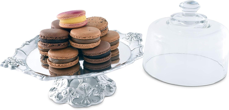 Arthur Court Designs Aluminum 8 Fleur-De-Lis Footed Plate with Glass Dome