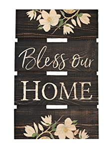 P. GRAHAM DUNN Bless Our Home Magnolia Dark Distressed 10 x 15.5 Wood Skid Pallet Wall Plaque Sign