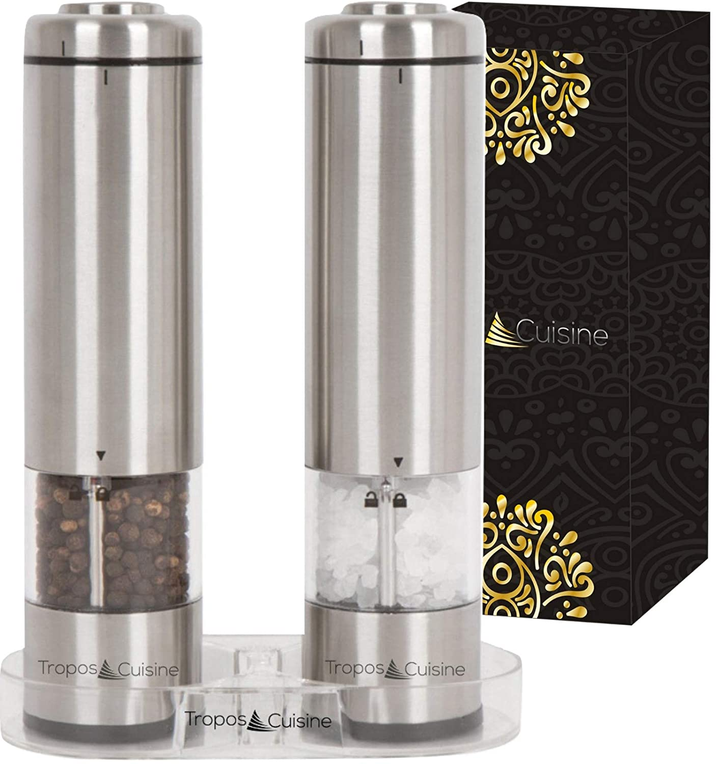 Battery Operated Salt and Pepper Grinder Set by TroposCuisine - 2 Tall Electric Stainless Steel Mills with Mill Rest - LED Light - Adjustable Coarseness Ceramic Grinders Shakers