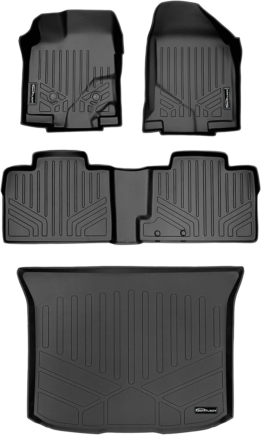 SMARTLINER Custom Fit Floor Mats 2 Rows and Cargo Liner Set Black for 2011-2014 Ford Edge 2011-2015 Lincoln MKX