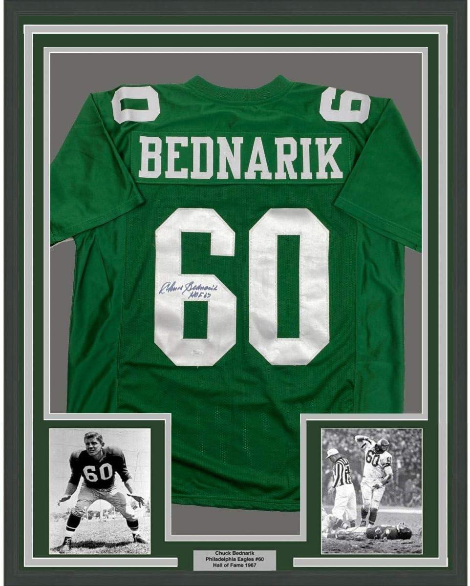 Framed Autographed/Signed Chuck Bednarik HOF 67 33x42 Philadelphia ...