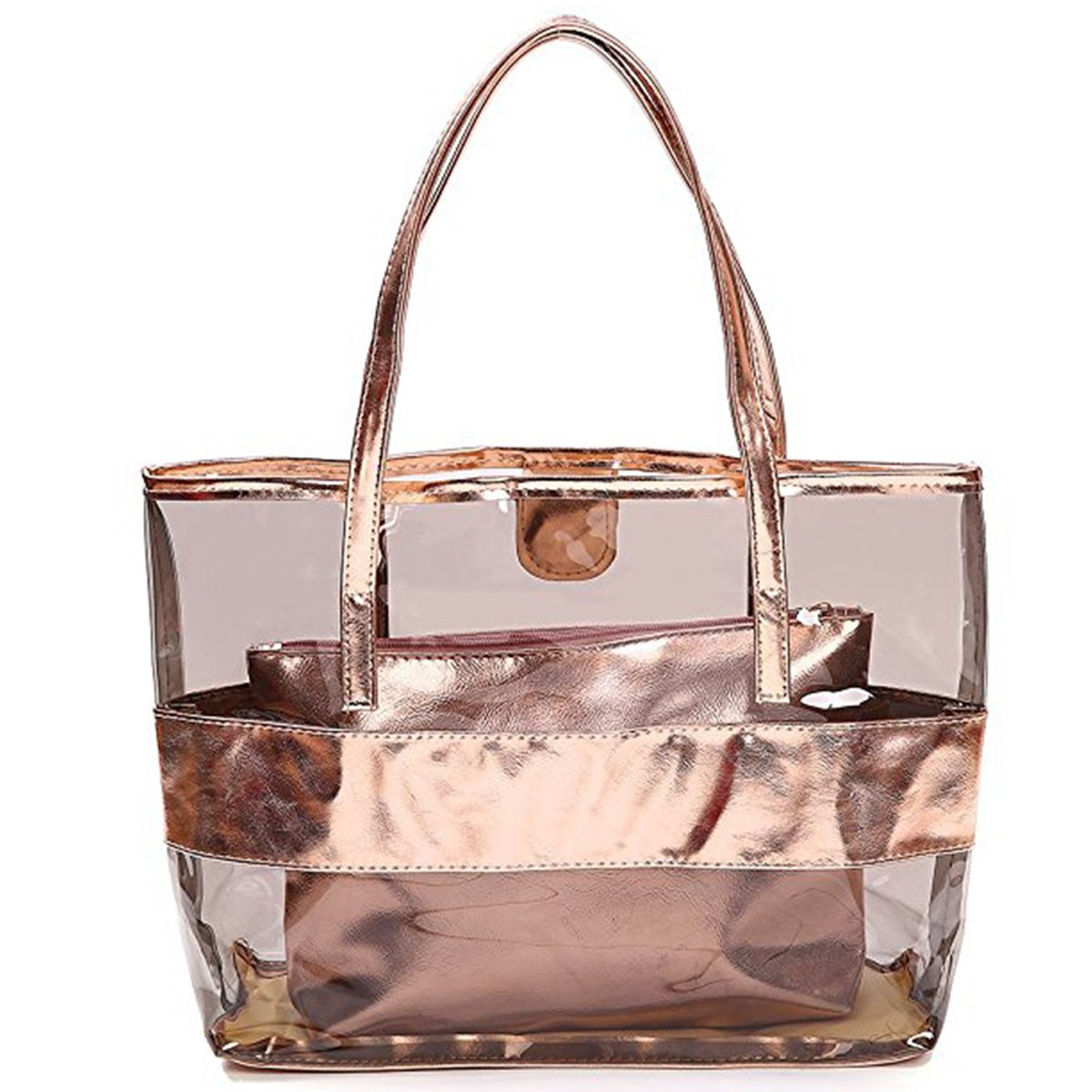 Starbailey Clear PVC Bag Gold Color Beach Bag – Toy Tote Bag – Large Lightweight Market, Grocery & Picnic Tote Oversized Pockets,2pcs Sets Travel, Best Fit Your Cosmetic, I-Phone, Champagne Color