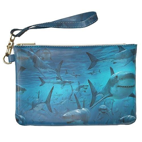 c7de48653631 Lex Altern Makeup Bag 9.5 x 6 inch Ocean White Sharks Fish Deep Blue ...