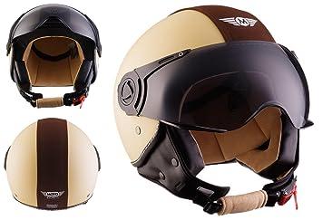 Moto Helmets H44 - Helmet Casco de Moto , Beige/Marrón, S (55