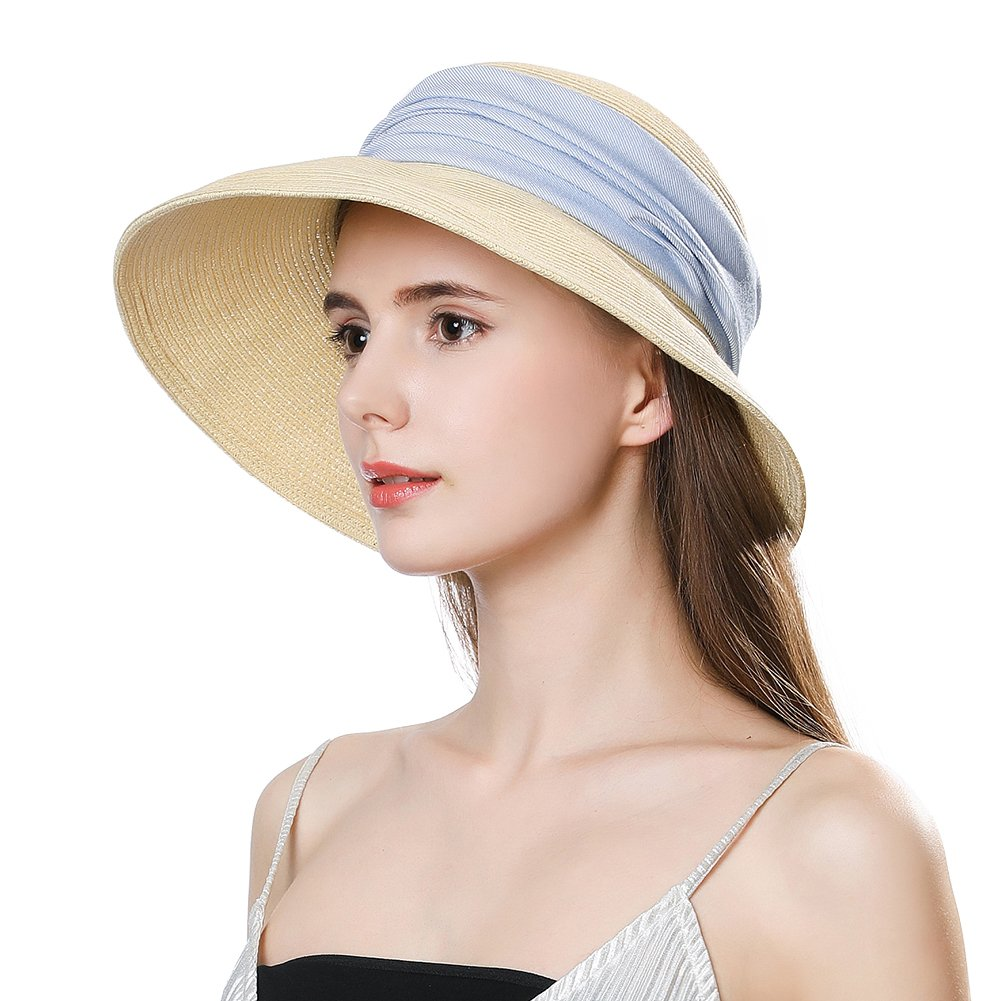 Ladies Straw Sun Hat Wide Brim UV Protection Foldable Panama Fedora Cloche Summer Beach Accessories Fashion Sunhat Beige by Jeff & Aimy