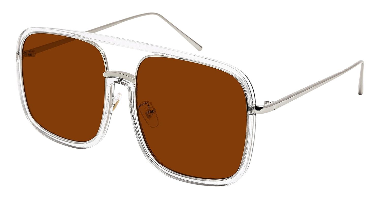 Edge I-Wear Men Women Sleek Classic Square Plastic Sunnies w//Flat Lens E3102