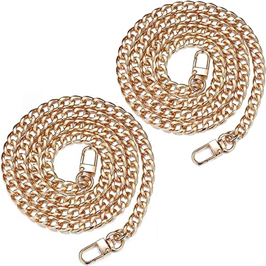 Metal Handbag Sprocket Accessory Flat Chain Strap Handle Replacement Chains Golden