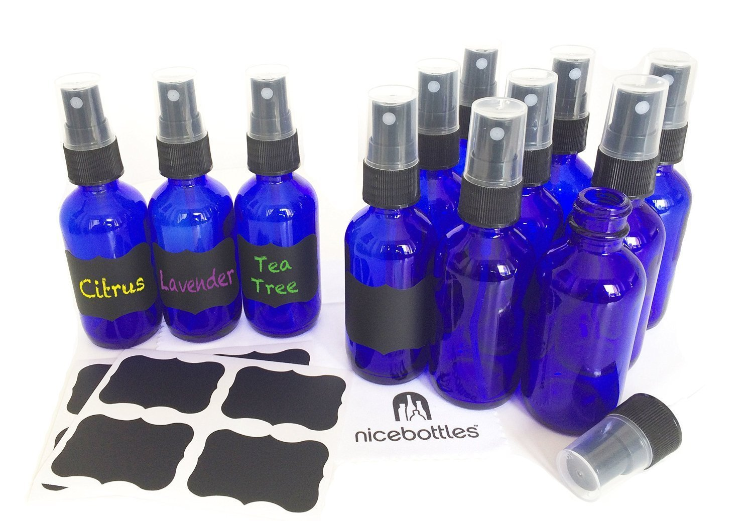 Glass Spray Bottles, 2 Oz Cobalt Blue Boston Round with Fine Mist Sprayer & Chalkboard Labels - Pack of 12 by nicebottles