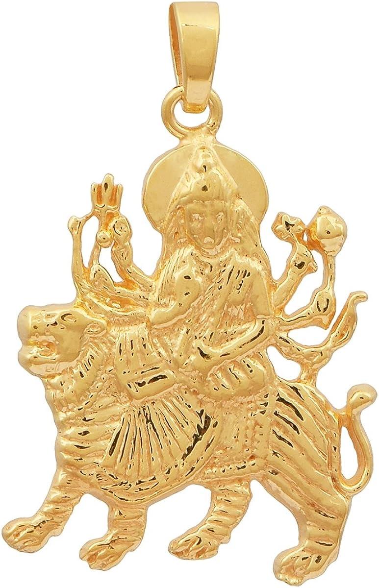 Shine Jewel D/éesse ma durga pendentif indien d/ã /© cor hindou puja idole argent sterling 925 pour femme Jaune