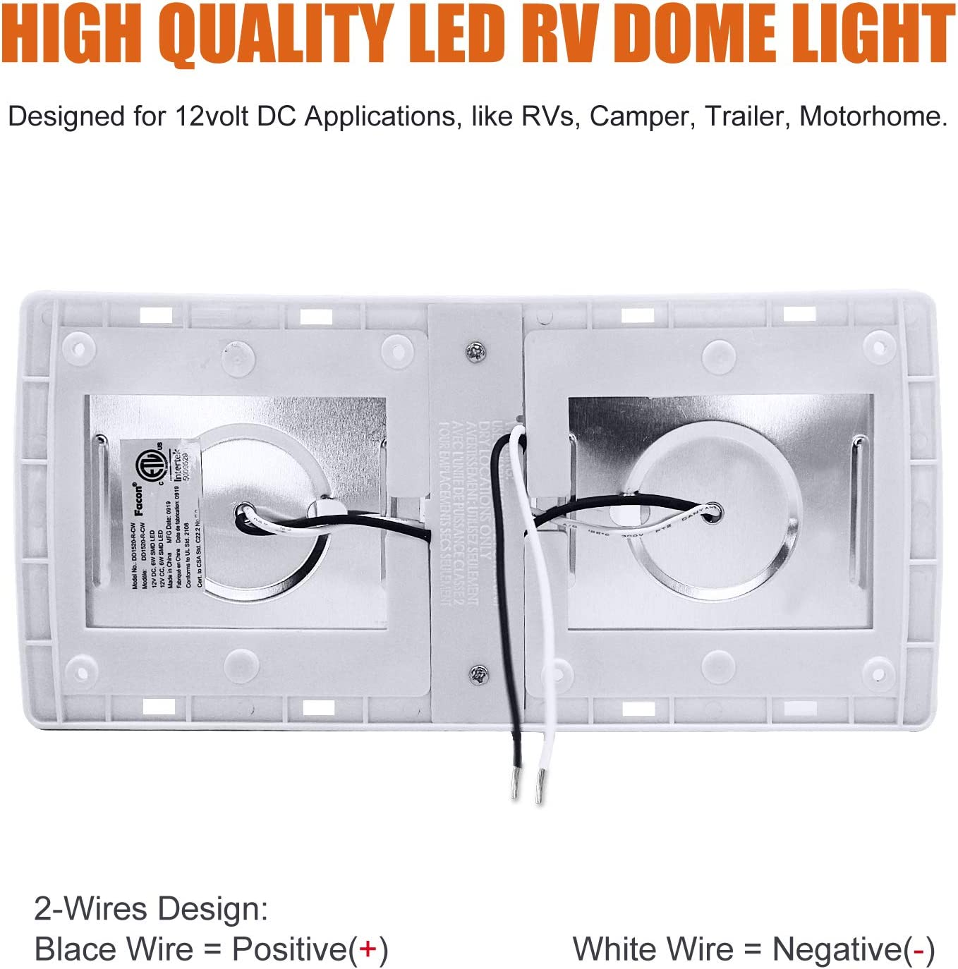 Facon LED 12Volts RV Pancake Light Double Ceiling Dome Light Under Cabinet Light with Switch 12V DC RV Interior Light for RV Motor-Homes Camper Caravan Trailer Boat