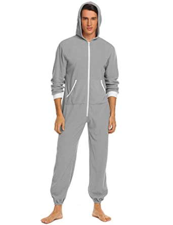 a27980484 FANEO Mens Full Length Onesies Sleepwear Hooded Jumpsuit Zip Up ...