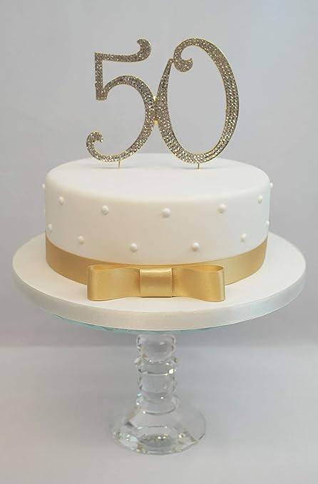 Astonishing Gold 50Th Birthday Or Wedding Anniversary Cake Topper Extra Large Personalised Birthday Cards Bromeletsinfo