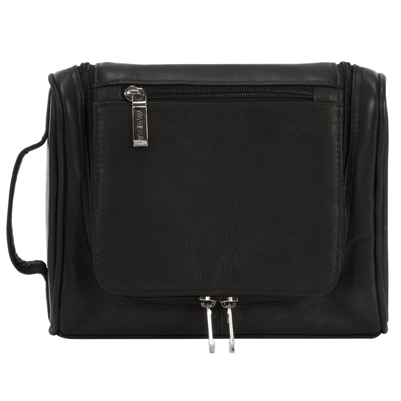 Muiska Leather Hanging Travel Toiletry Dopp Kit Packing Organizer Case Bag - Mens Shaving Kit - Womens Makeup Bag, Black by Muiska