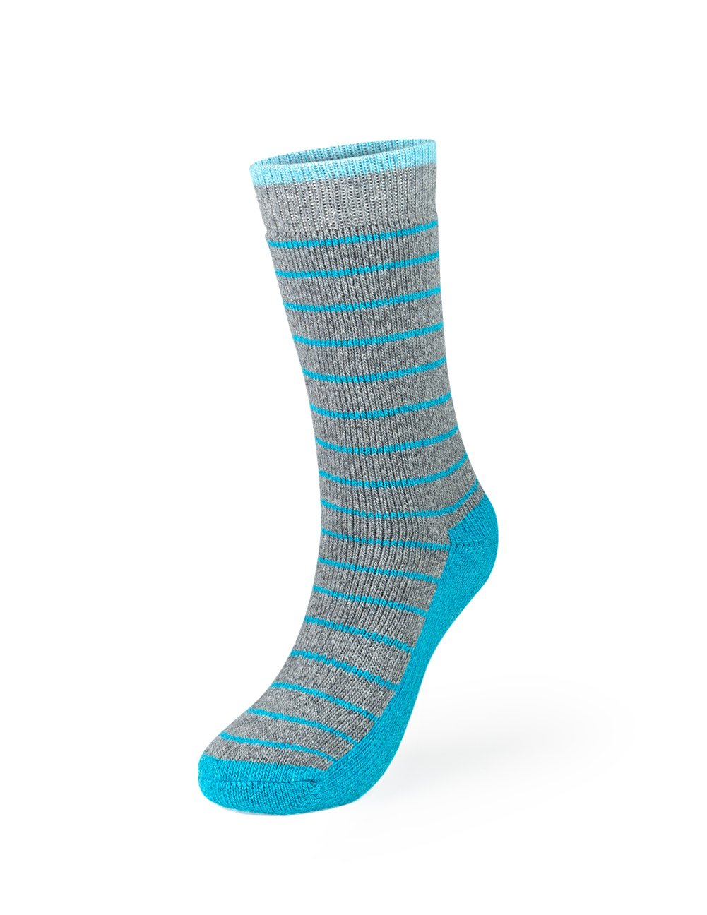 Kodiak - Women's Crew Socks - Style 4340 - Gray with Aqua Accents