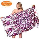 Sand Free Travel Beach Towel Blanket-Quick Fast Dry Super Absorbent Lightweight Thin Microfiber Towels for Pool Swimming Bath Camping Yoga Gym Purple Paisley Flamingo