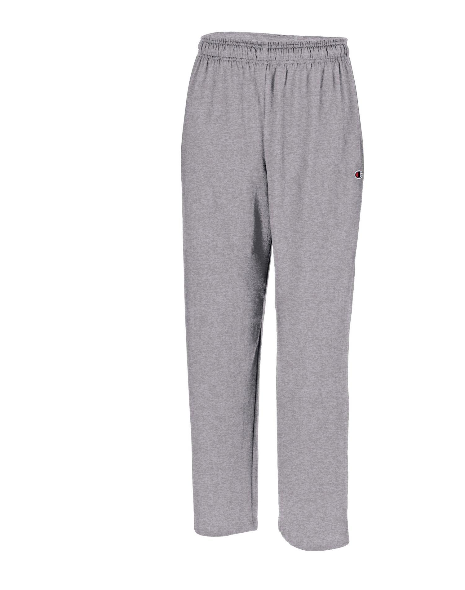 Champion Men's Classic Jersey Open Bottom Pants Oxford Gray X-Large 32.5